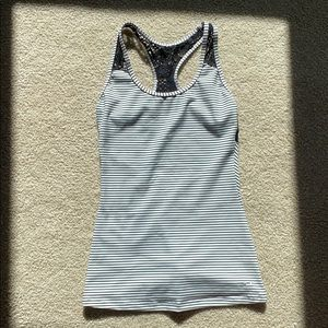 O'Neill Athletic Halter Back Lace Striped Tank Top